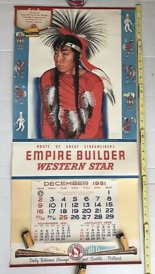 """Great Northern RR Empire Builder 1952 Calendar Blackfoot Indian Youth 16 x 33.5"""""""