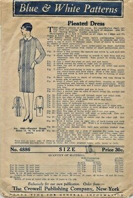 Vintage RARE Blue & White Pattern 1920s 20s Pleated Dress FF Size 16 Sewing