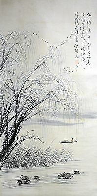 Vintage Chinese Watercolor LAKE LANDSCAPE Wall Hanging Scroll Painting