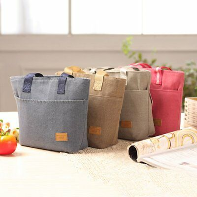 Large Capacity Insulated Hand Bag Durable Canvas Thermal Lunch Bag for Women KM