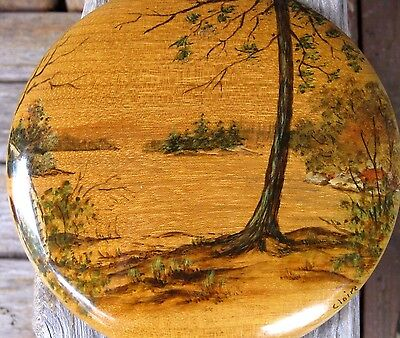 Antique OR Myrtlewood Hand Painted Wall Art Plaque Vintage Signed by Artist