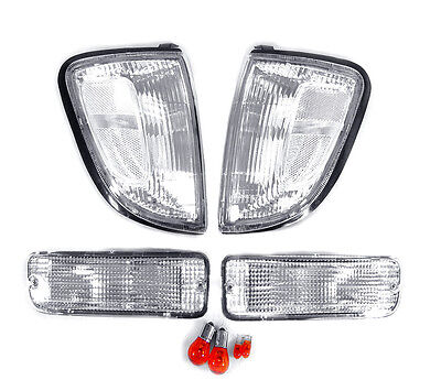 DEPO Clear Corner Lights + Bumper Signal Lights For 1997-2000 Toyota Tacoma 2WD