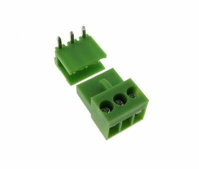 HQ 3POS 3.96mm Screw Terminal Block Plug w/ Header Free Hanging RA - Pack of 5