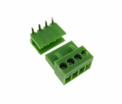 HQ 4POS 3.96mm Screw Terminal Block Plug w/ Header Free Hanging RA - Pack of 5