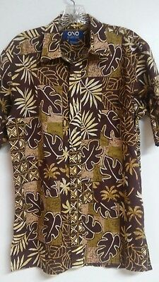 31d648ad Ono by Liberty House M 100% Cotton Lawn Button-Front Aloha Shirt - Brown