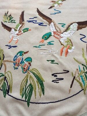 Vintage Hand Embroidered Picture Panel Ducks Kingfishers Reeds On A Pond Vgc