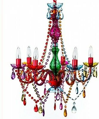 Ceiling Chandelier Multi-Color Large 6 Arms Hanging Metal With Crystals Decor