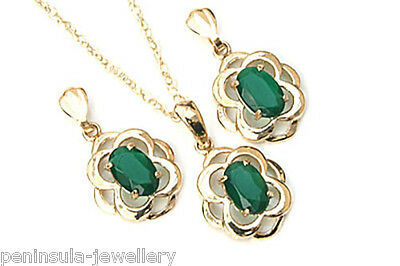 9ct Gold Celtic Green Agate Pendant Chain and Earring Set Made in UK Gift Boxed