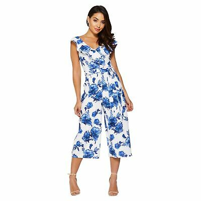 New Quiz Blue & White Floral Print Culotte Jumpsuit Party - Size 8 - 16