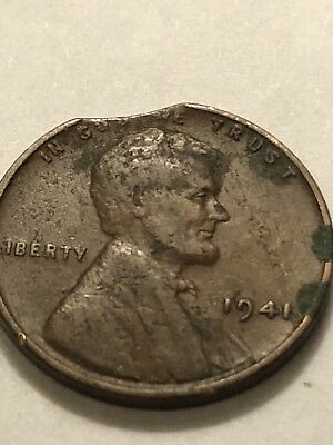 1941 P  Lincoln Wheat Penny,  Cent, (Clipped Planchet) Mint Error Coin