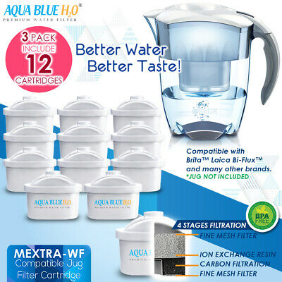12x Compatible Maxtra Water Filter Jug Refill Replacement Cartridge