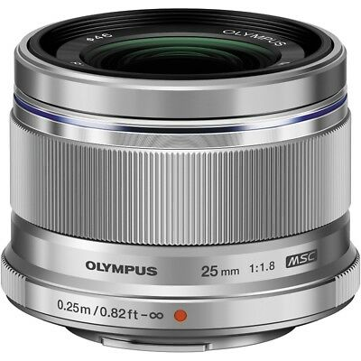 Olympus M.Zuiko Digital Silver 25mm f/1.8 Lens Micro 3/4 Mount for Camera