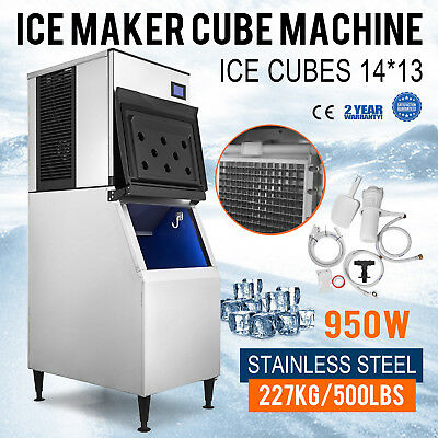 500 Lbs/24H Commercial Ice Maker Machine Stainless Steel Bakery Digital Control