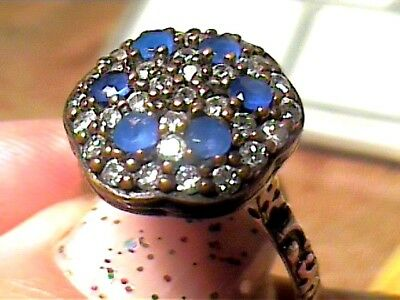 VINTAGE ANTIQUE  SILVER RING 9 MEDIEVAL blue royal SAPPHIRE STERLING 925