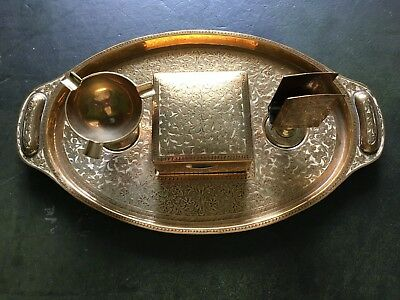 A Beautiful Brass Tray With Smokers Set Made In British India