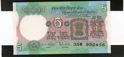 INDIA 5 Rupees 1985 P80p Letter A Malhotra UNC Banknote