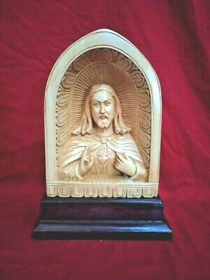 Jesus Christ Wooden Hand carved Sculpture Christian India Church Statue Figurine