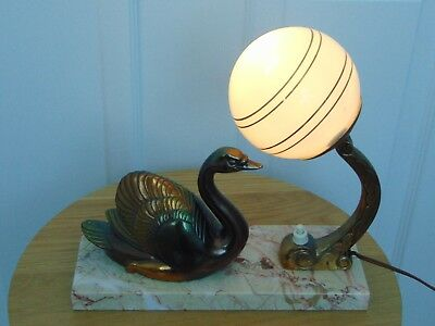 French  Art Deco Marble Base Table Lamp Spelter Swan Globe Light Working Signed
