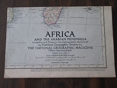 Africa and the Arabian Peninsula National Geographic Large Map March 1950