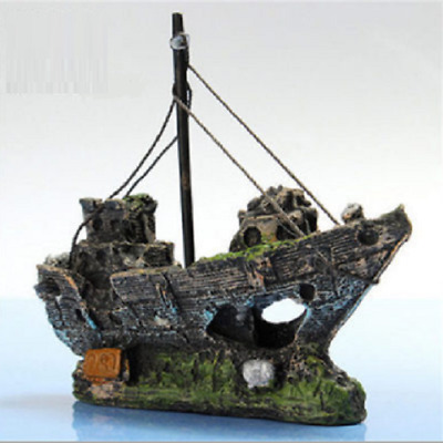 Pirate Ship Aquarium Decoration Nautical Boat Fish Tank Safe Ornament Resin S