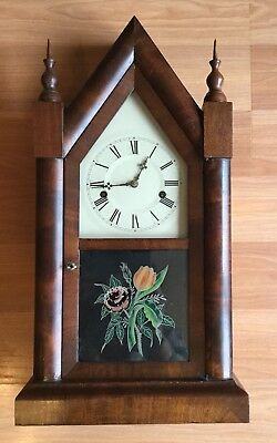 Old Vtg Antique Wood Etch Glass Clock Eight Day Thirty Hour Og Oog Clock Gothic