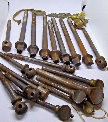 Job Lot of Georgian Table Screws and Later Screws & Brass Furniture Fittings