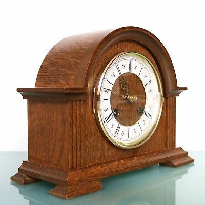 HERMLE Mantel Clock Germany Vintage SERVICED! 2 BELL Chime OAK Wood! Mid Century