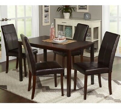 Dining Room Set Espresso 5pc Piece Furniture Dinner Table Chairs Modern Five  New