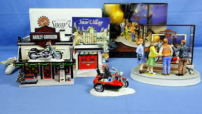 Lot 3 Harley Davidson Holiday Dept 56 29 Days 'Til Christmas Snow Village