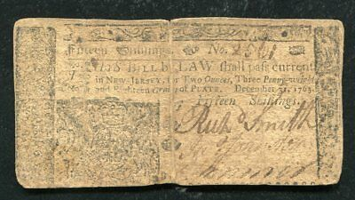 NJ-157 DECEMBER 31, 1763 15s FIFTEEN SHILLINGS NEW JERSEY COLONIAL CURRENCY