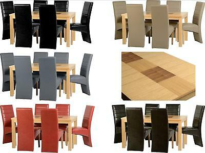 """Seconique Wexford 59"""" Dining Set Table & 6 Chairs - Oak Effect with Walnut Inlay"""