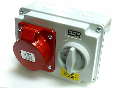 UK ESR Red 16Amp Interlock Socket Switch 3P+N+E Weatherproof IP44 3P+N+E 5P 415V