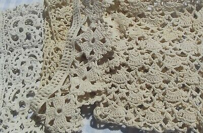Lot of Antique Vintage French Lace Cuffs Handmade crocheted dentelle trims