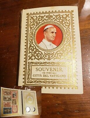 Collectable Vintage 1950's Catholic Pope Souvenir Stamp Book! Coins in Plastic!