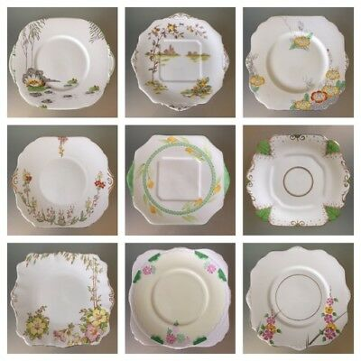 ART DECO Vintage China Cake Plate 1930s Bread Butter Eared Green Yellow 20-23cm