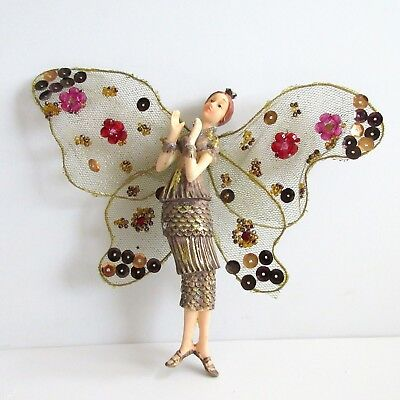 Flapper Fairy Sparkling Ornament Roaring 20s Beads Sequins Hanging Holiday Magic