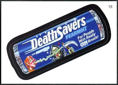 Death Savers #15 Wacky Packages Series 7 Topps 2010 Sticker Trade Card (C1770)