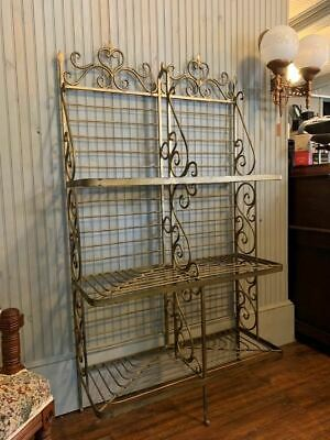 Antique Wrought Iron Bakers Rack Shelf French Original Gold Patina