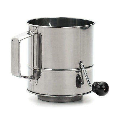 RSVP Endurance Stainless Steel Crank Style Flour Sifter 3 cup