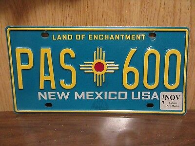 Nice Clean New Mexico USA License Plate Tag #PAS 600