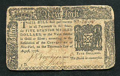 Ny-204 August 13, 1776 $5 Five Dollars New York Colonial Currency Note