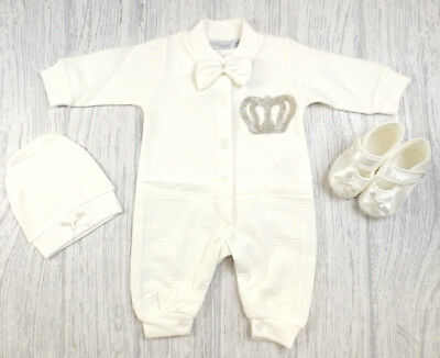 Baby Boys Girls Spanish Style Romany Ivory  Romper Shoes & Hat Outfit AW18