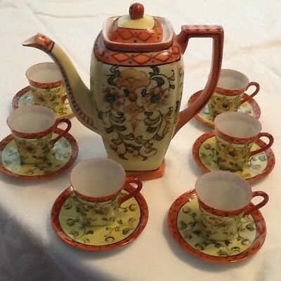 Vintage Hand Painted Japanese 17pc Porcelain Tea Set
