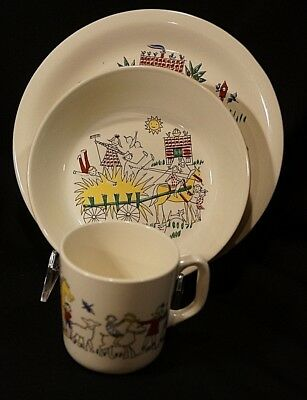 3 Piece Child's Plate Bowl Cup Stavangerflint Norway Farm Pattern