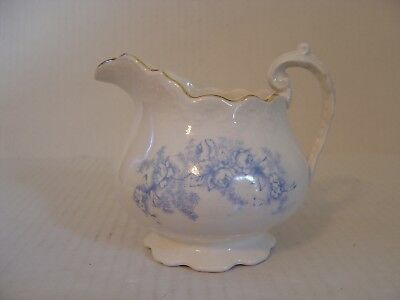 Vintage Limoges China Small Pitcher With Blue Floral Design Trimmed In Gold