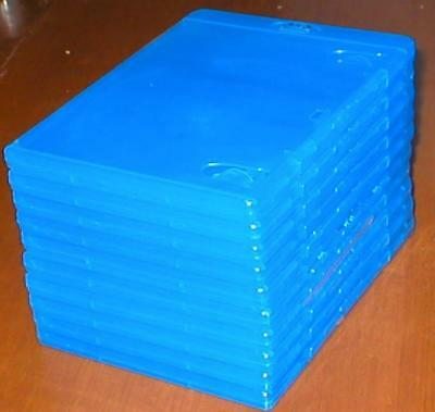 Set of 10 New, Empty, Blue, Blu-ray DVD Replacement Cases w/ Wrap-Around Sleeves