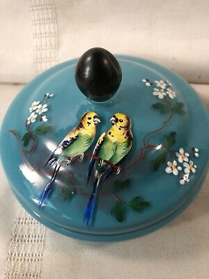 Antique Victorian Bird and Floral Hand-Painted Blue Glass Dresser Box