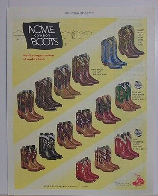Vintage Original 1952 Acme Cowboy Boots Magazine Advertisement