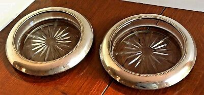 Set of Two Beaded Sterling Silver Ashtrays Trinket Dishes w/Heavy Etched Glass
