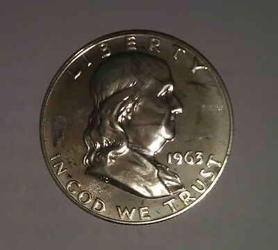 1963 Franklin Proof 90% Silver Half Dollar // Collectable Coin , W/small Marks